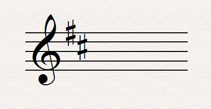 Key signature of two sharps (D major)