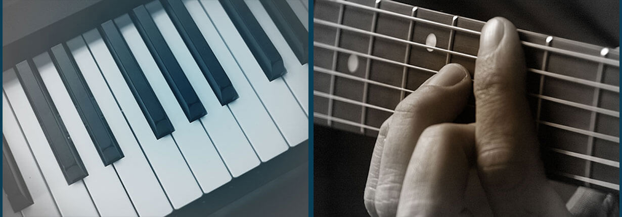 Side-by-side comparison of a piano keyboard and a guitar fretboard