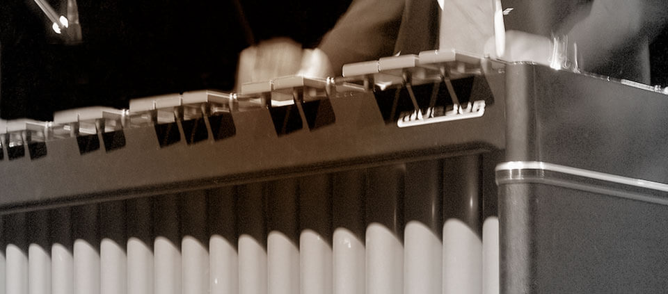 A vibraphone being played during a live performance