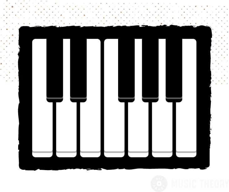 diagram of a single octave, or 12-note pattern, on a keyboard