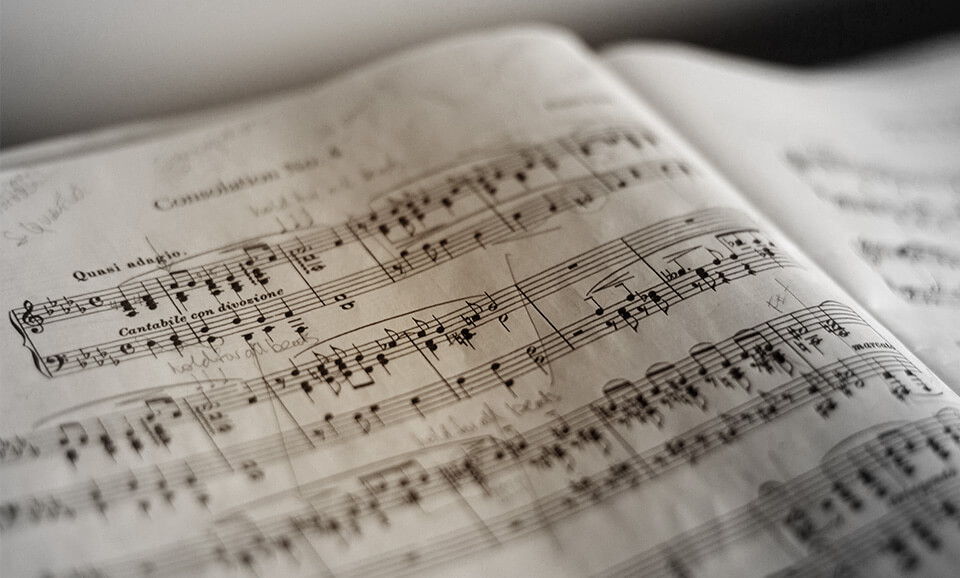 Close-up photo of a piano music score